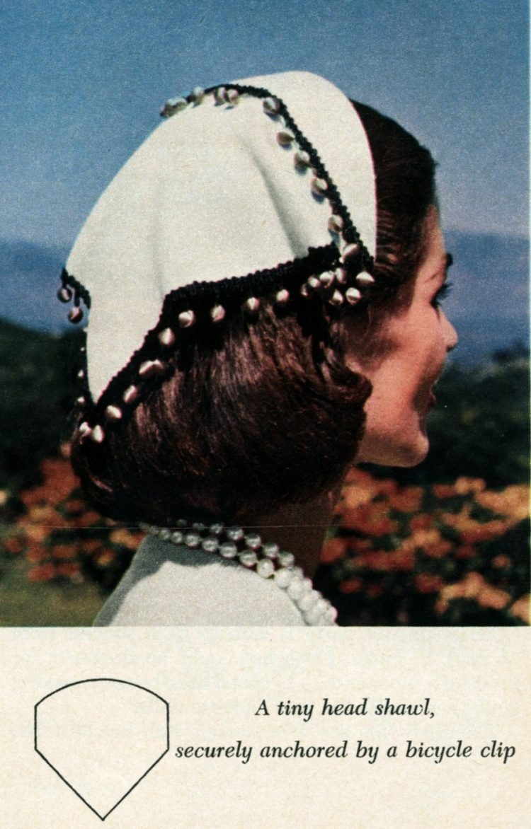 Vintage 50s-style hats to sew - Tiny head shawl