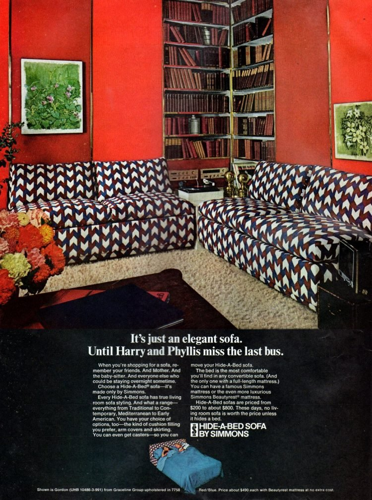 Vintage 60s Hide-a-Bed sofa from 1968