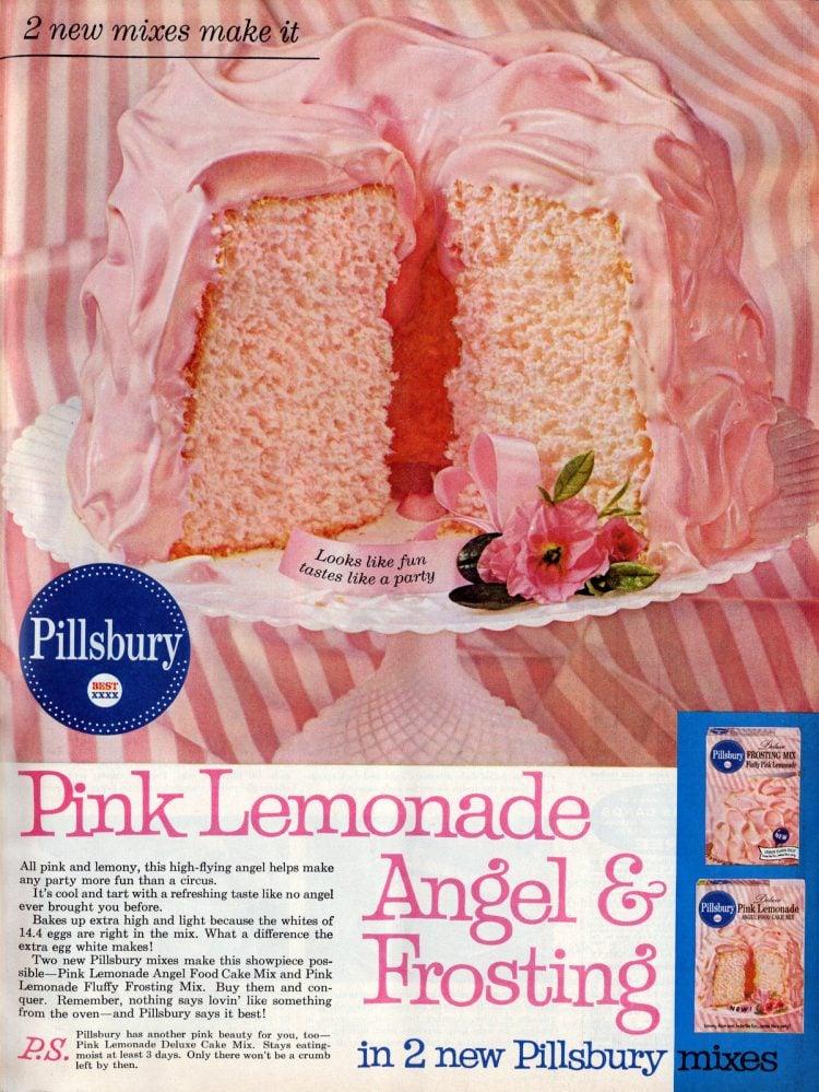 Vintage 60s Pink lemonade angel cake and frosting (1961)