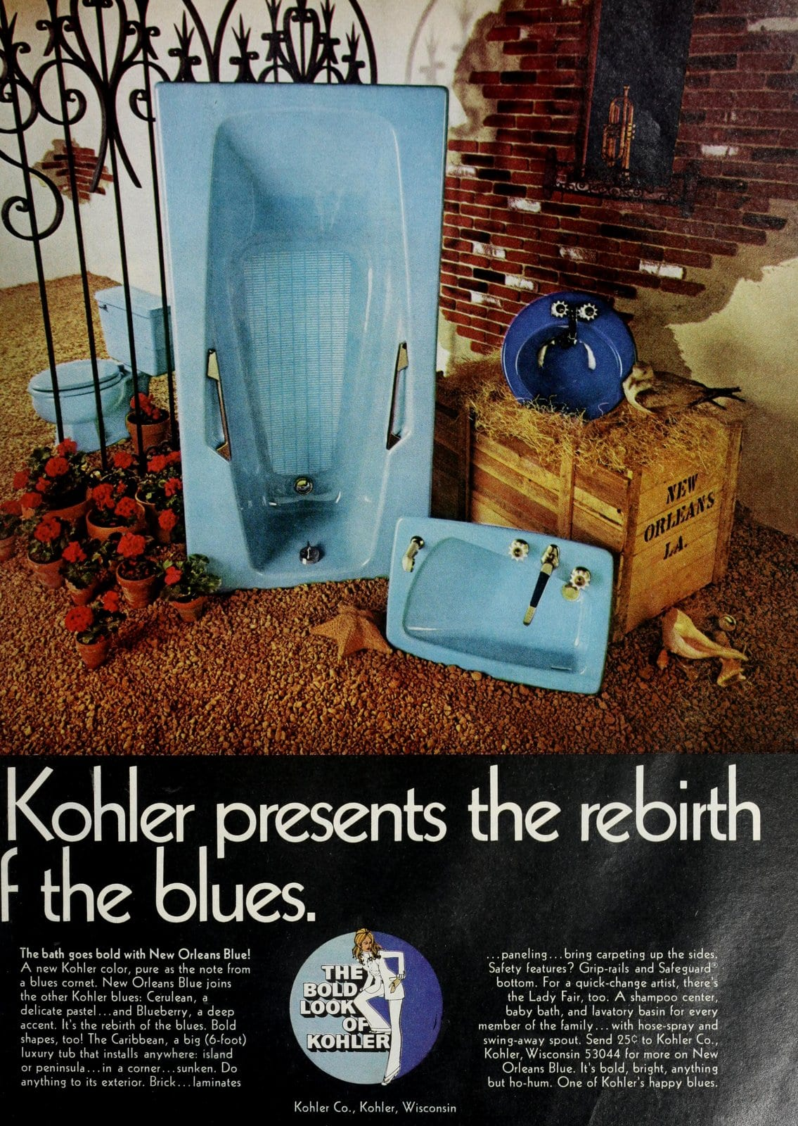 Vintage 60s blue Kohler bathroom suites (1969)