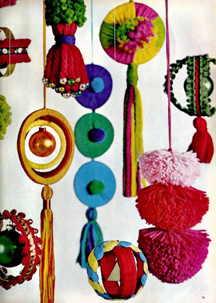 Vintage 60s craft project - wool-wound mobiles with coffee can lids (1)