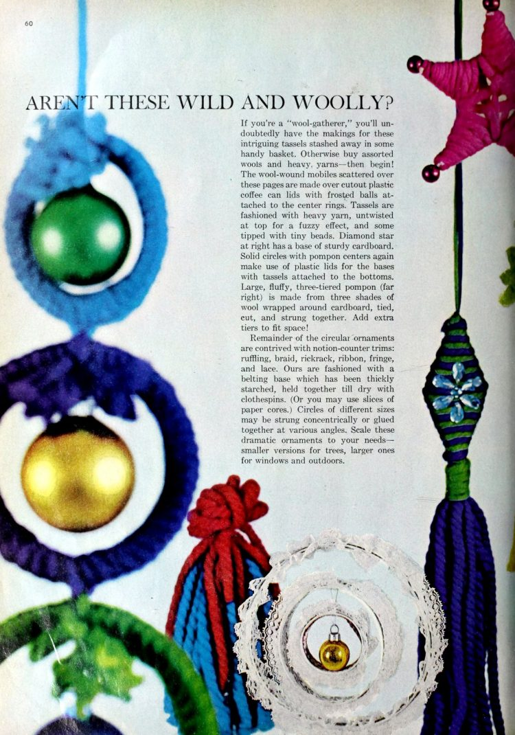 Vintage 60s craft project - wool-wound mobiles with coffee can lids (2)