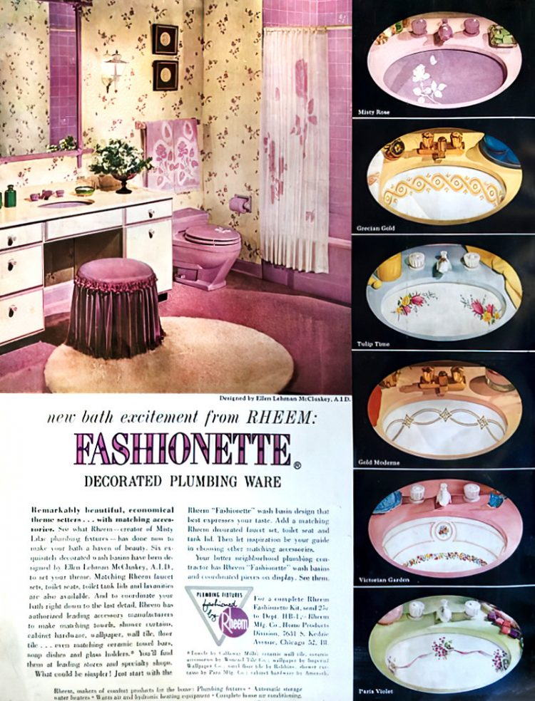 Vintage 60s decorated sinks and bathroom plumbing fixtures (2)