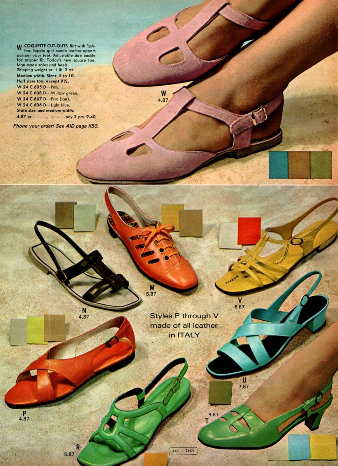 Vintage '60s flat shoes & fashionable low-heeled footwear for women