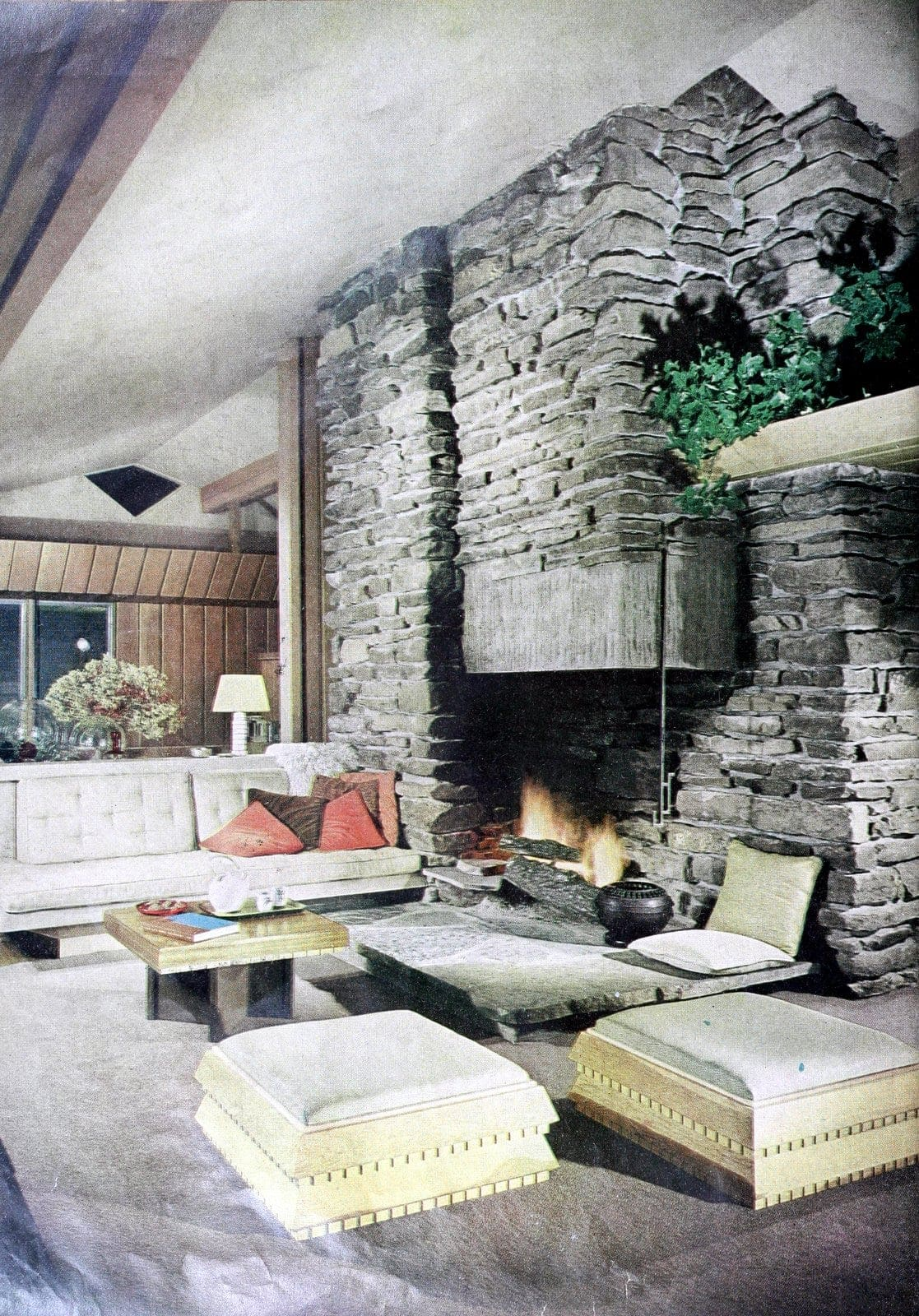 Vintage 60s living room with huge stone fireplace (1960)