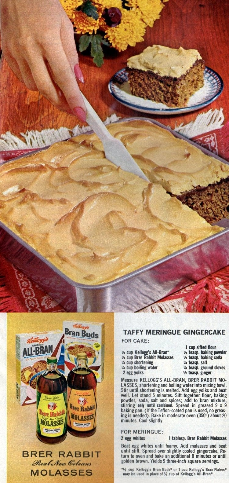 Vintage 60s recipe for meringue gingerbread cake