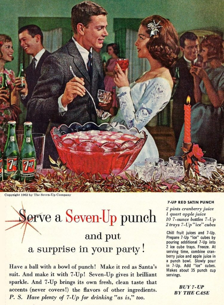 Vintage 7-Up red satin punch recipe from the 60s