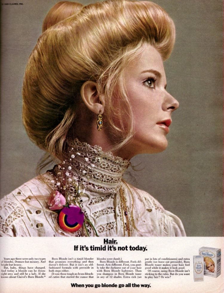 Vintage 70s Clairol Born Blonde hair lightener - 1969