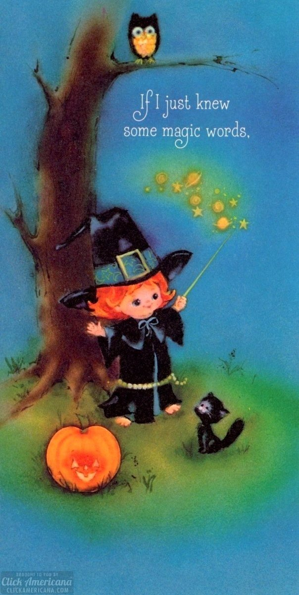 Vintage Halloween cards for kids - cute girl witch retro card