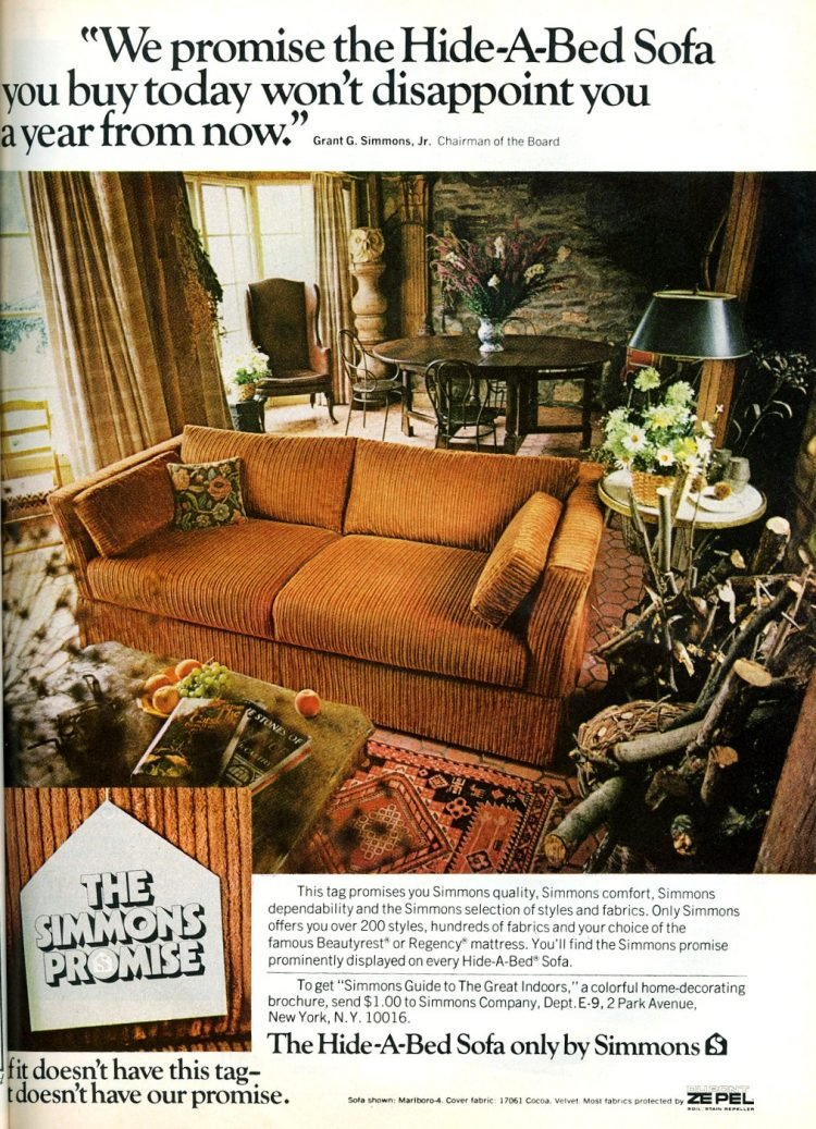 Vintage 70s Hide-a-Bed sofa from 1974