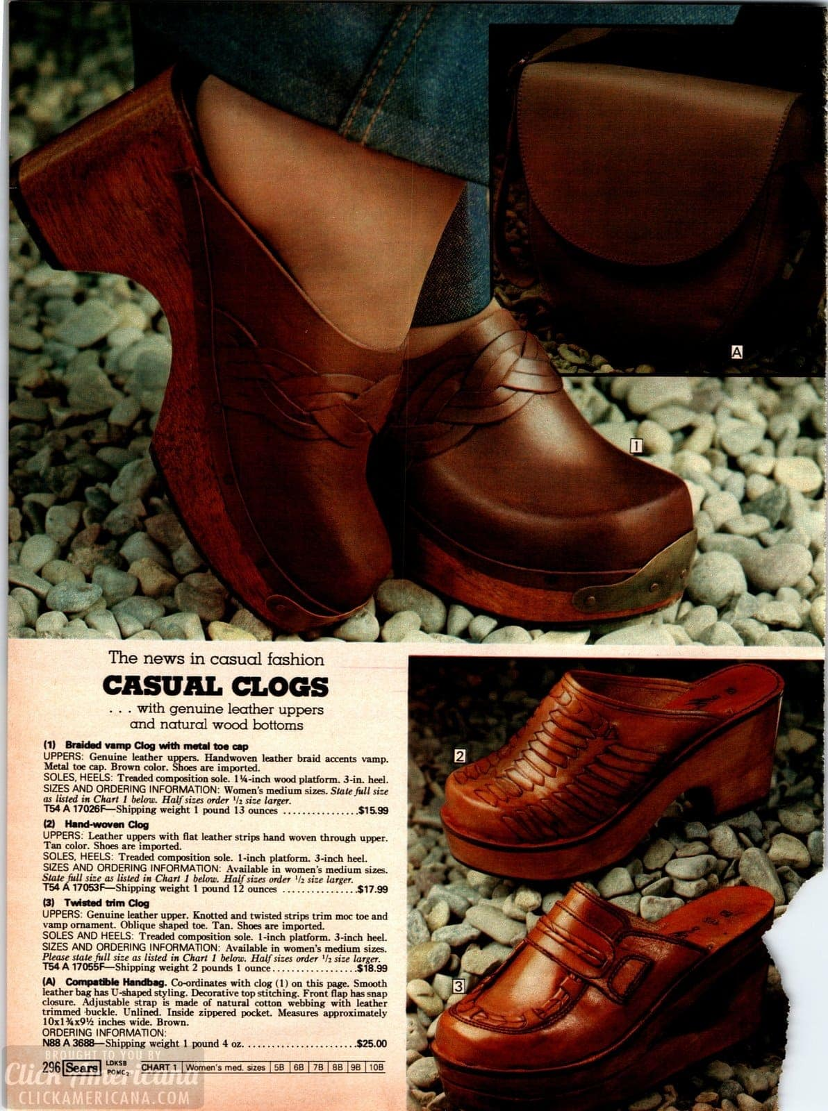 Vintage 70s casual clogs for women with brown leather uppers and natural wood platforms