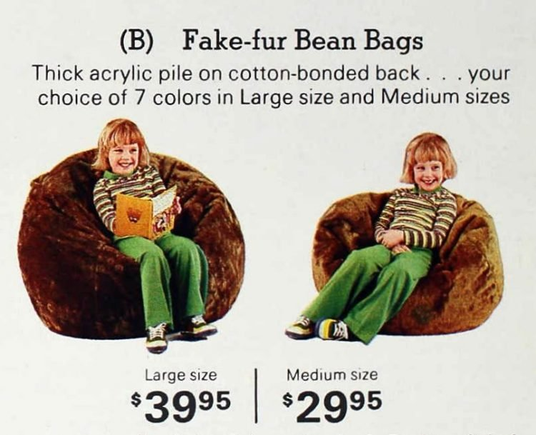 Vintage '70s fake fur bean bags for kids