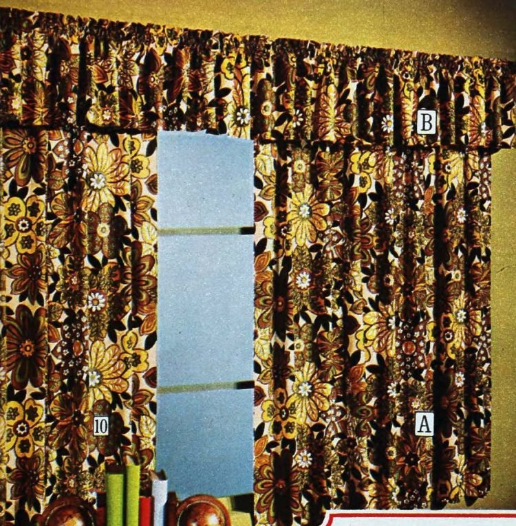 Vintage 70s floral window curtains with valance