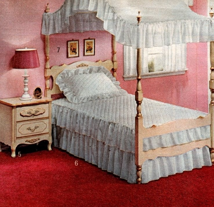 Vintage '70s frilly white canopy beds and furniture for girls plus ruggedly masculine wood bedroom set for boys