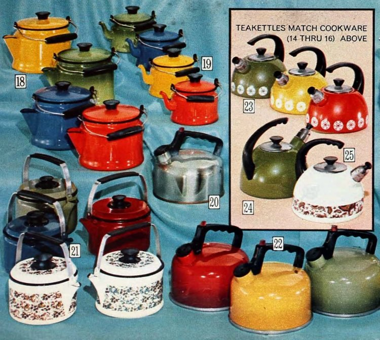 Vintage 70s kitchen teapots like your mom or grandma used to have
