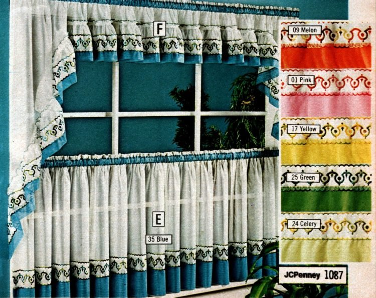 Vintage 70s machine washable tier curtains and toppers (1)
