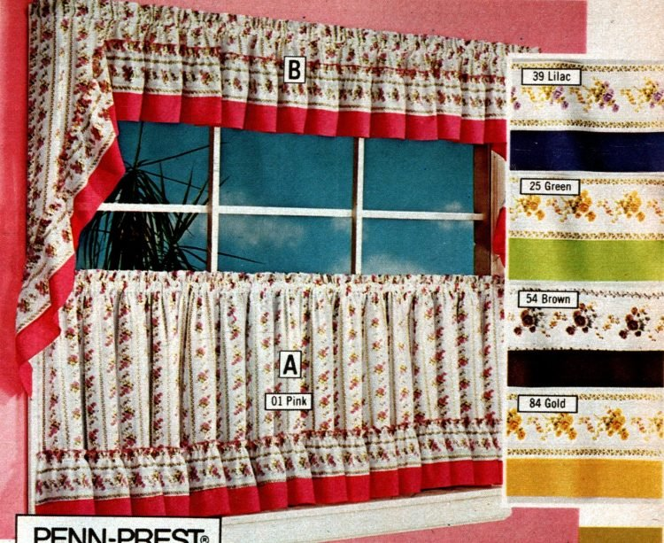 Vintage 70s machine washable tier curtains and toppers (2)