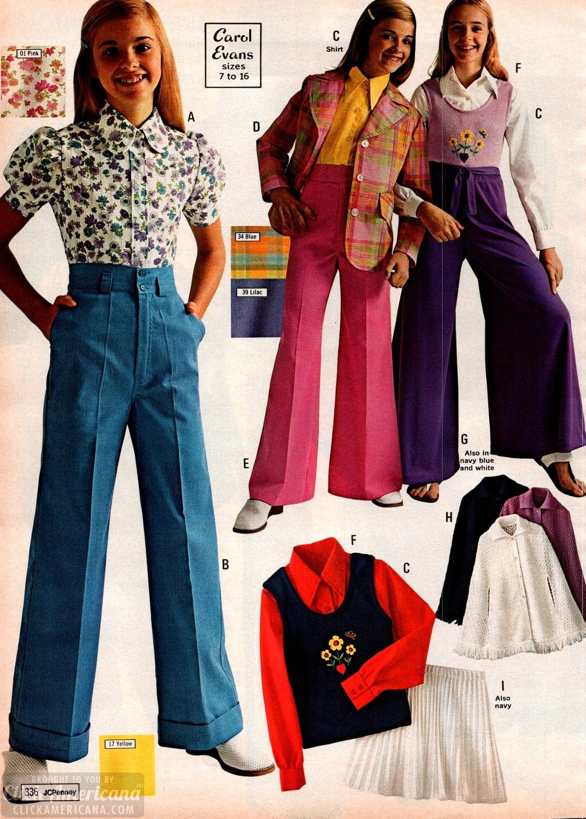 Vintage 70s school clothes for girls in spring colors with floral patterns and embroidery