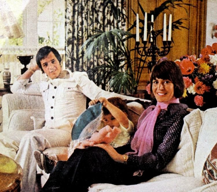 Vintage 70s singer Helen Reddy at home with her husband