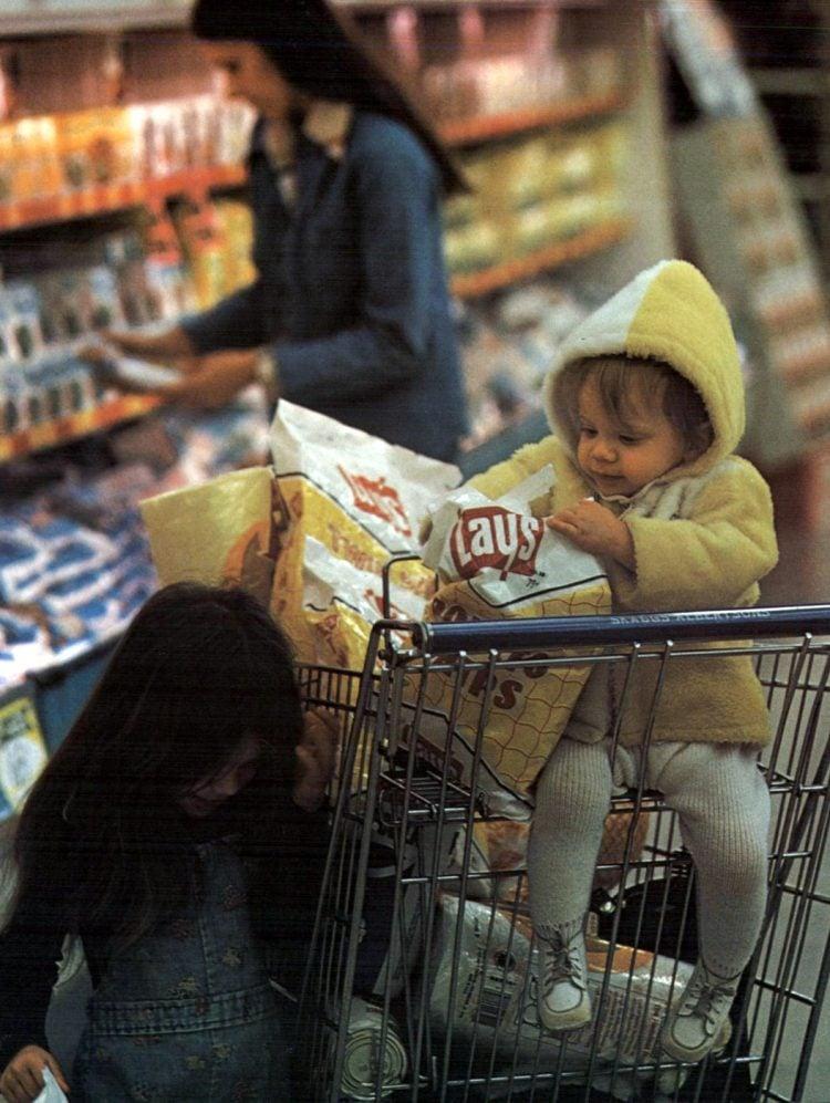 Vintage 70s supermarket scene 1975