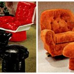 Vintage '70s toadstool ottomans and gull-wing chairs
