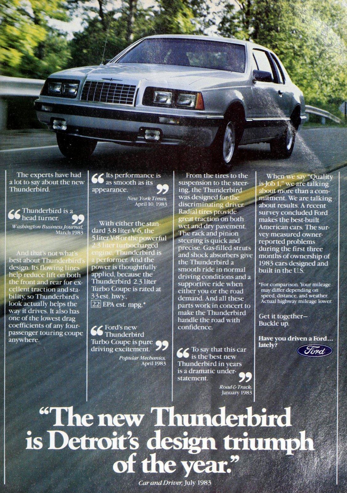 Vintage '80s Ford Thunderbird cars 1984