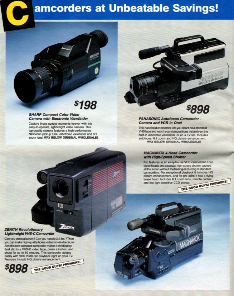 Vintage 80s Sharp, Panasonic, Magnavox, Zenith video cameras and camcorders