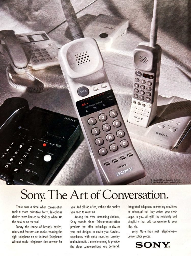 Vintage 80s Sony Cordless telephone from 1989
