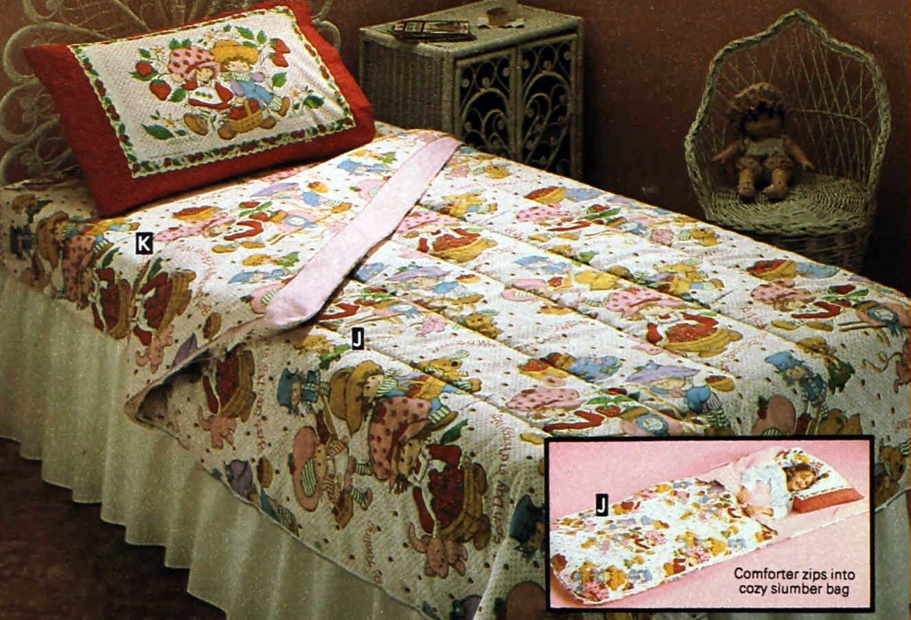 Vintage 80s Strawberry Shortcake comforter that turns into a sleeping bag