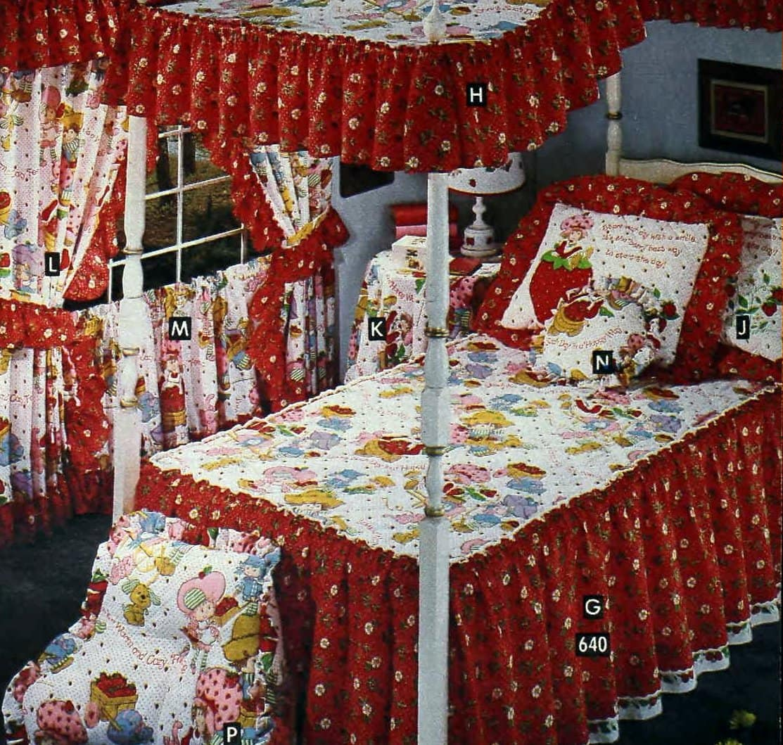Vintage 80s Strawberry Shortcake red canopy bedding and curtains