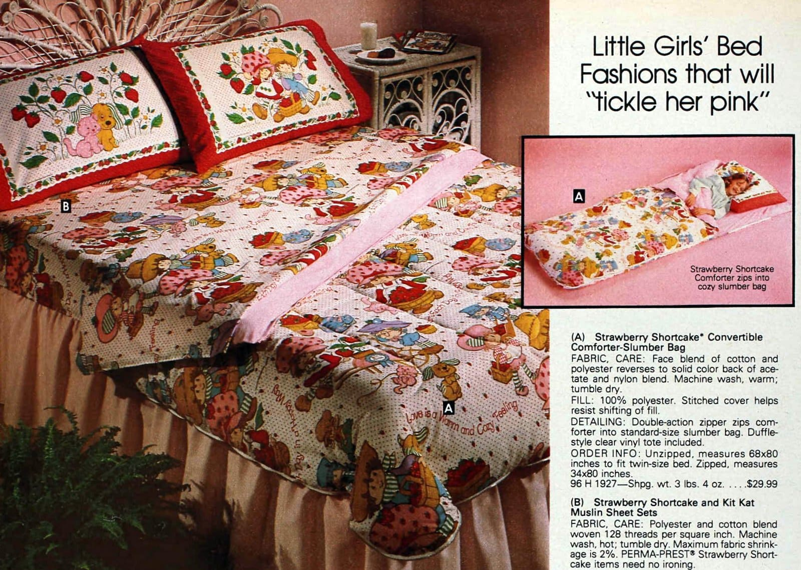 Vintage 80s Strawberry Shortcake sheets and pillowcases for girls