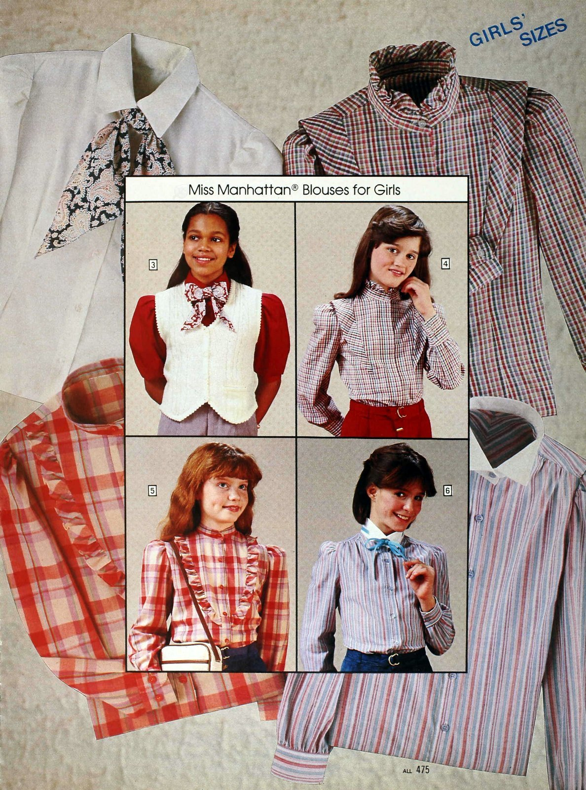 Vintage 80s blouse styles for girls from Miss Manhattan - Sears