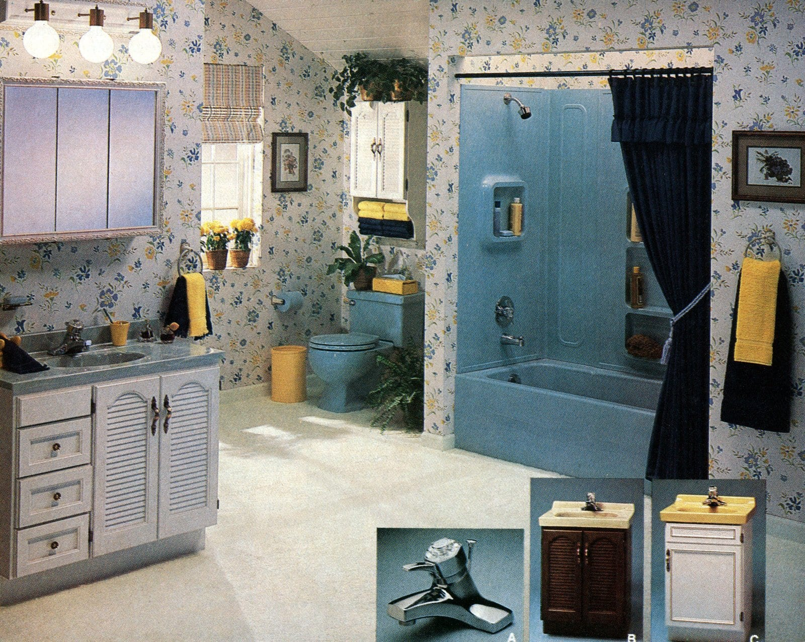 Vintage '80s blue bathroom decor (1981)