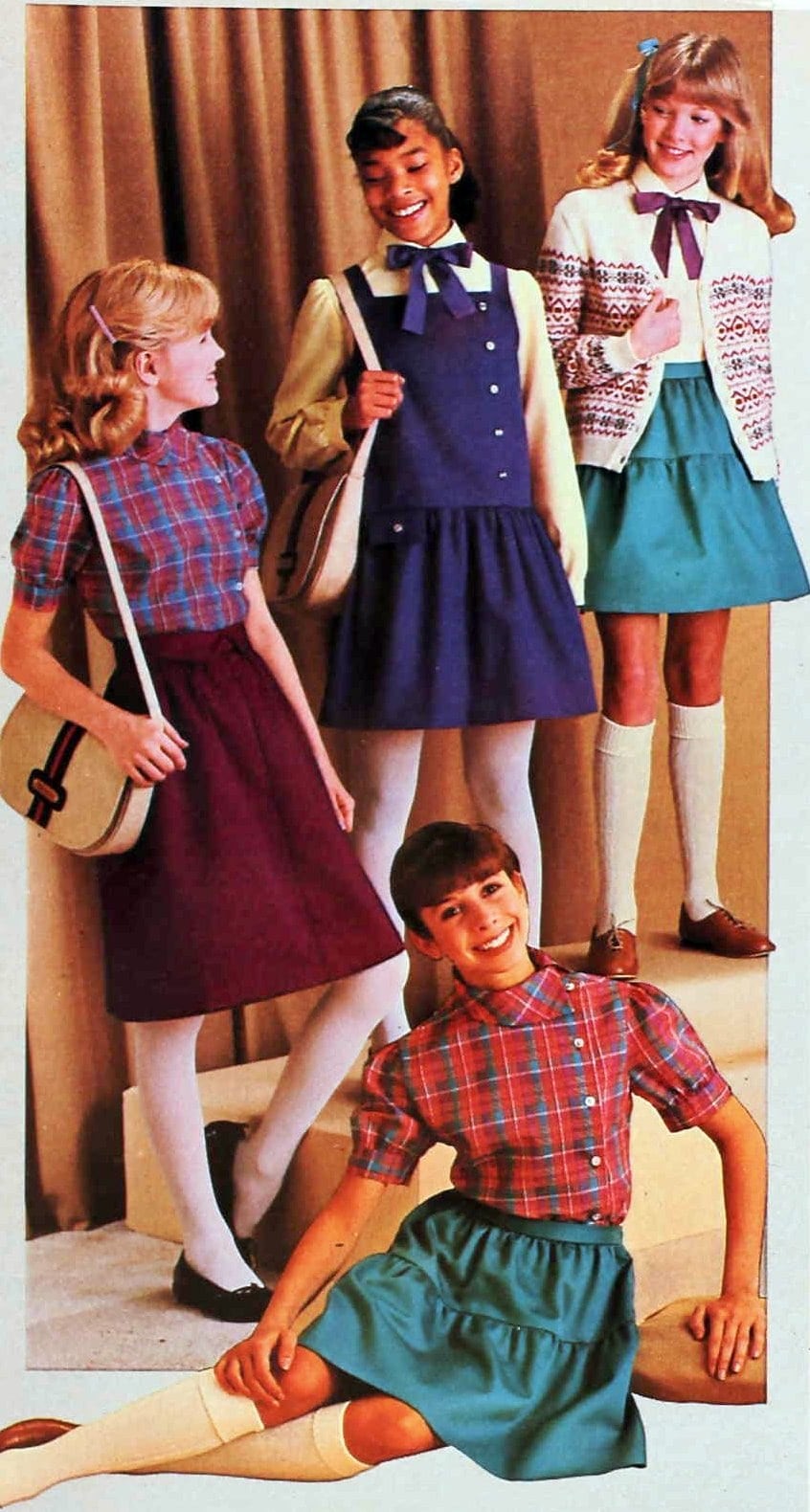 Vintage 80s cottagecore prairie shirt and skirt combos from 1983