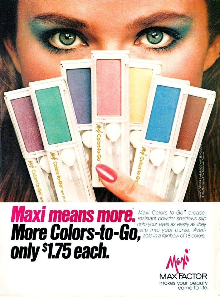 Vintage 80s eye makeup - Rainbow colors of eyeshadow from Max Factor Maxi