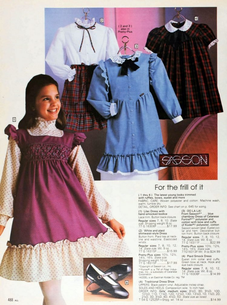 Vintage 80s frilly fashions from Sassoon 1982