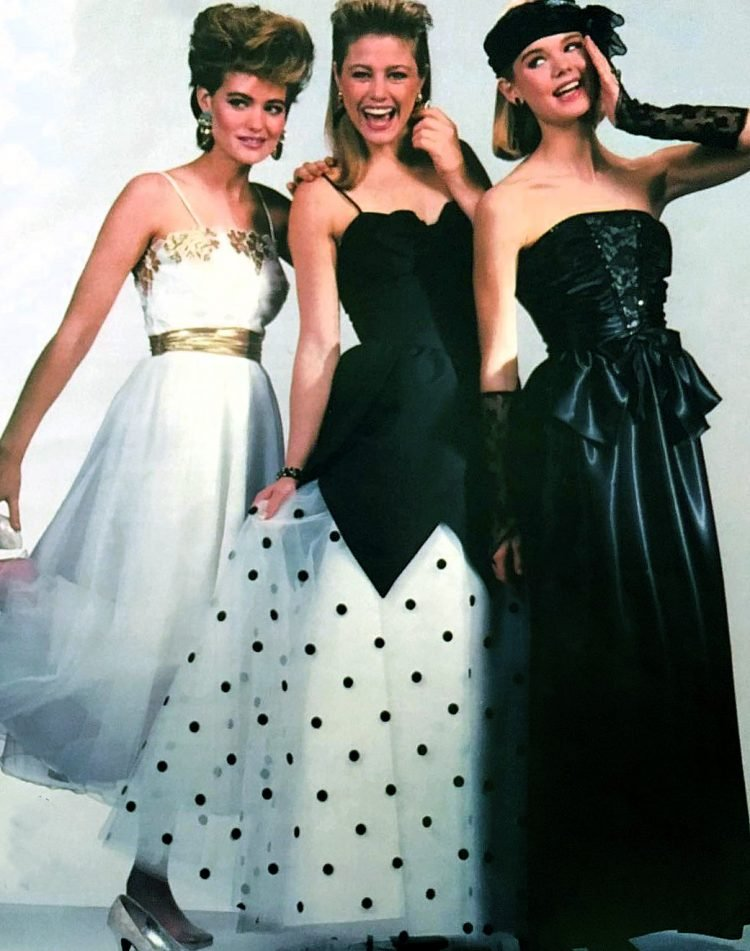 Vintage 80s prom dresses in black and white