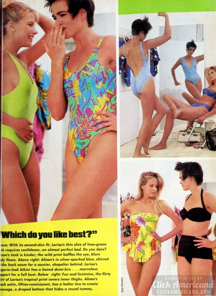 Peach 80s swimsuits: A boned sweetheart top that highlights a ravishing bust line