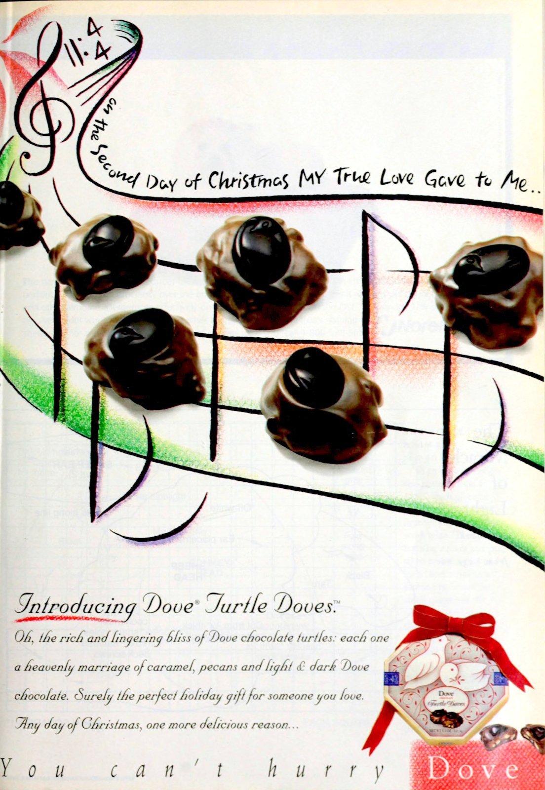 Vintage 90s Dove Turtle Doves chocolate candies (1996)