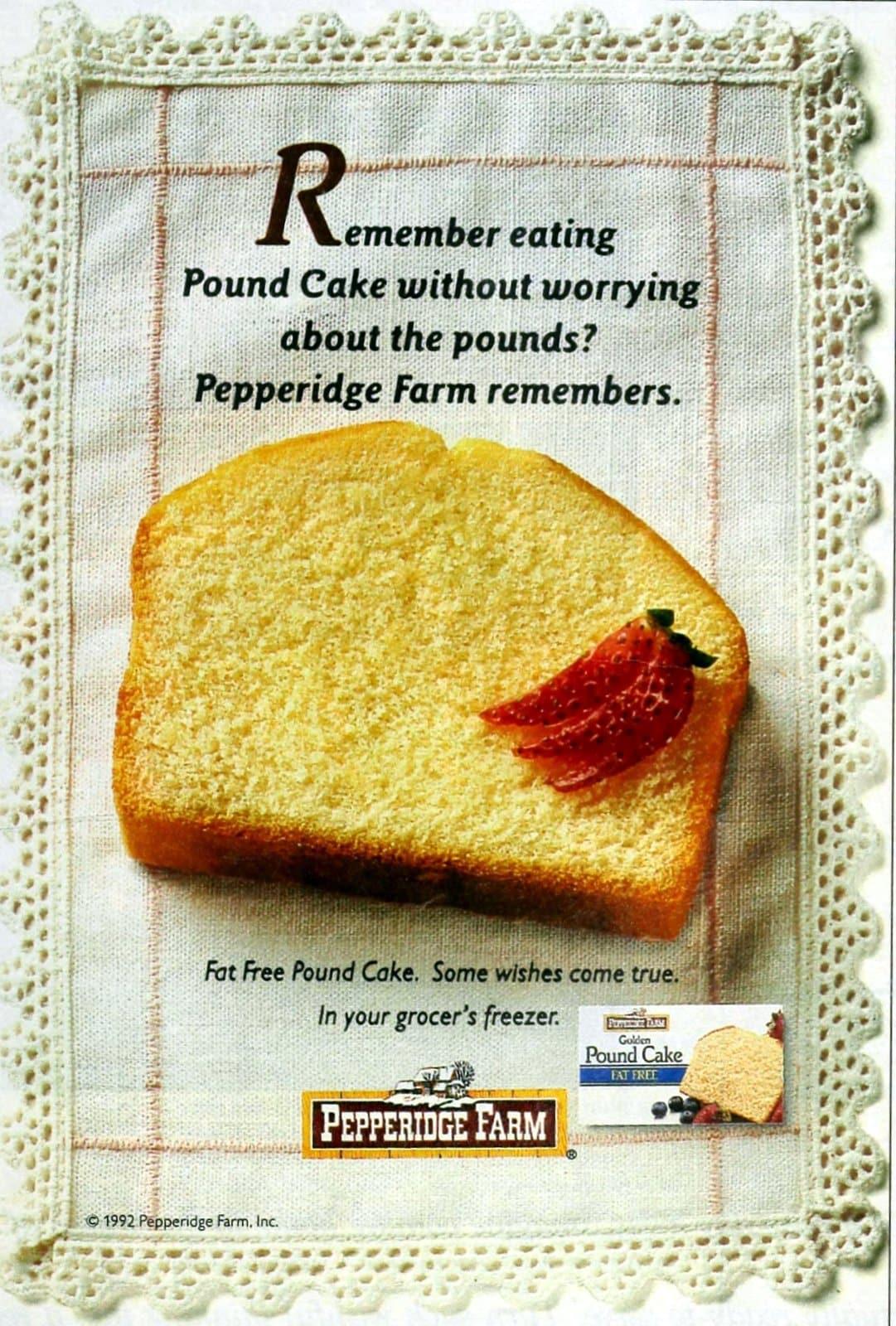 Vintage 90s Pepperidge Farm fat-free pound cake (1992)