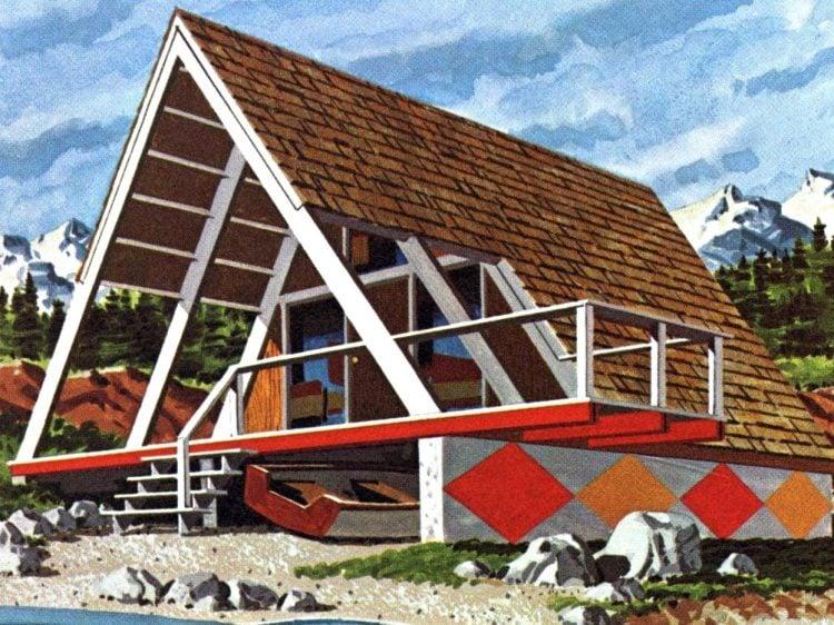 Vintage A-Frame cabin design 1960s