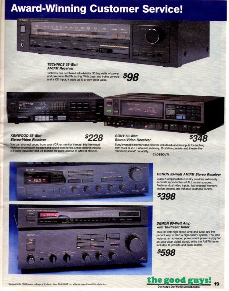 Vintage AM-FM receivers Technics, Kenwood, Sony, Denon
