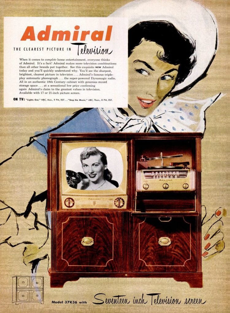 Vintage Admiral televisions from 1951
