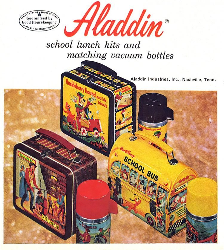 Vintage Aladdin school lunch kits and matching vacuum bottles