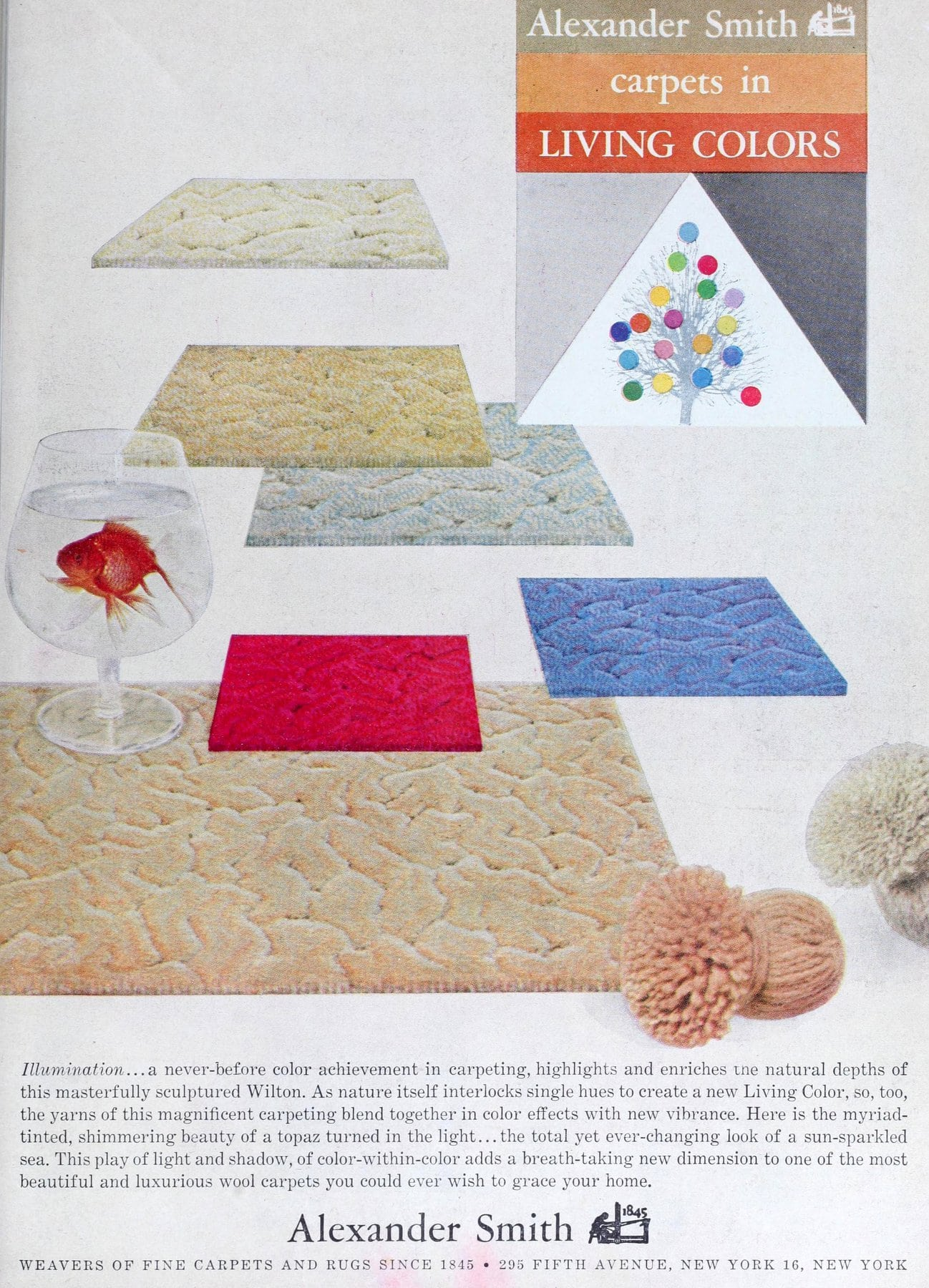 Vintage Alexander Smith sculpted and textured carpet (1960)