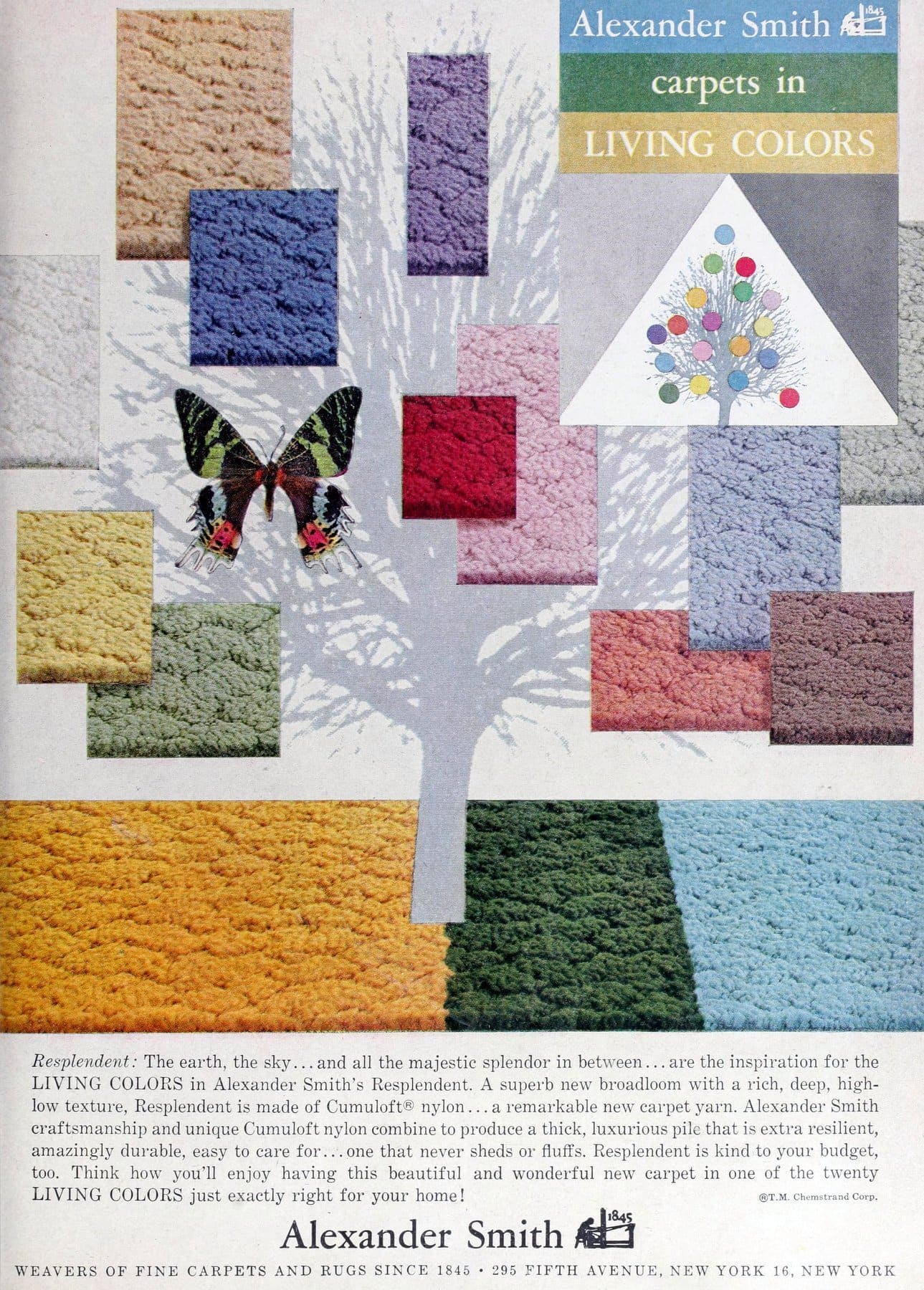 Vintage Alexander Smith sculpted and textured wall-to-wall carpeting (1960)