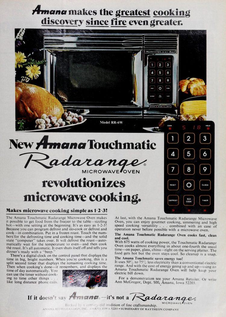 Vintage Amana Touchmatic Radarange microwave oven (1975)