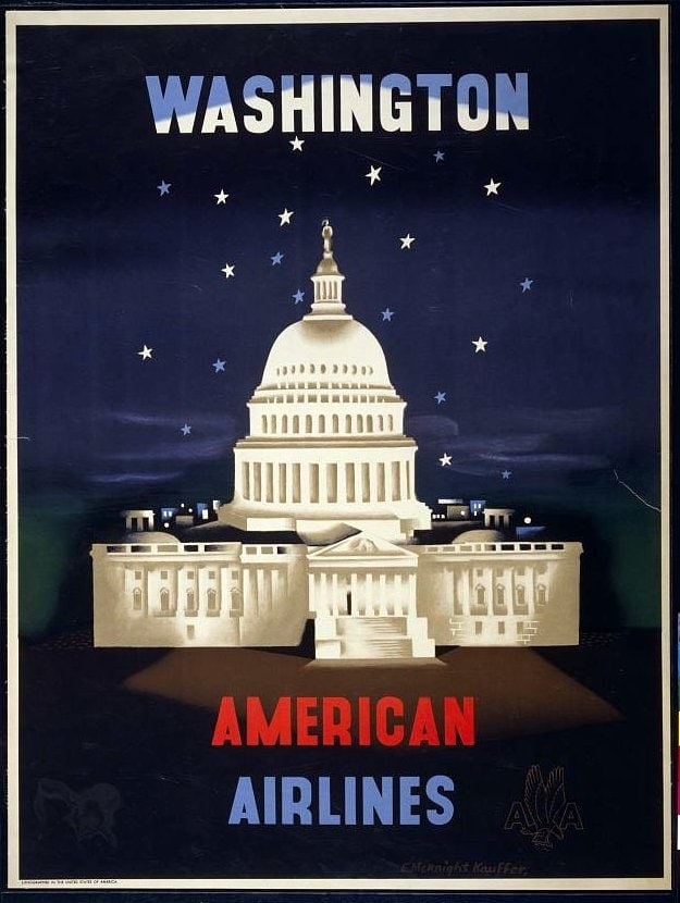 Vintage American Airlines poster - Washington DC