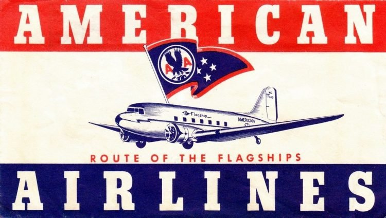 Vintage American Airlines ticket sleeve from 1944