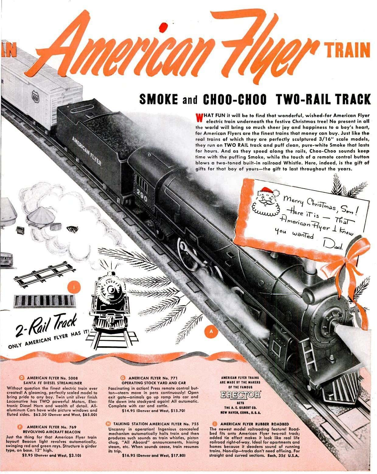Vintage American Flyer train toys from 1950